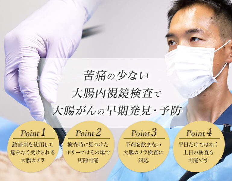苦痛無く楽に受けられる大腸内視鏡検査で大腸がんの早期発見・予防